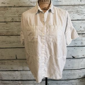 Madewell Short Sleeve Striped Shirt Size Small